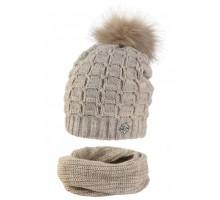 Комплект подростковый LUZ-20005 (флис) шапка+снуд восьмерка