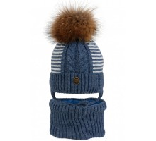 Комплект детский шапка+снуд POL-20014 (изософт) Натуральный Енот