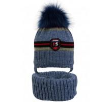 Комплект детский шапка+снуд POL-20014/33 (изософт) Натуральный Енот